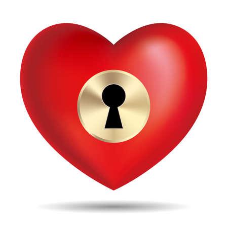Lock the heart symbol.Isolated on white background. Illustration