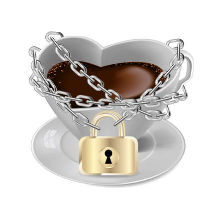 Coffee cup locked by a chain.Isolated on white background.