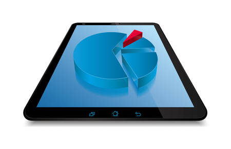 Pie chart on the tablet,Isolated on white background.