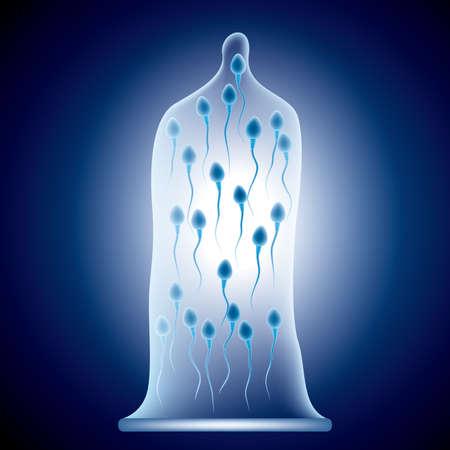 Contraceptive concept design,Sperm in a condom,Blue gradient background.