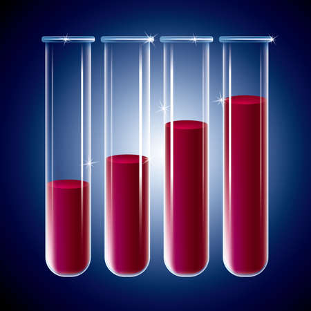 test tubes filled with blood.Blue gradient background.