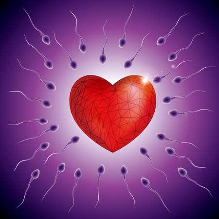 Fertilization process design, sperm and ovum combination,heart symbol. Illustration