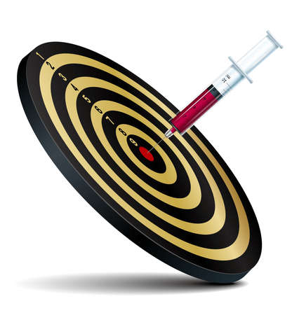 Syringe hits bullseye, isolated on white background.