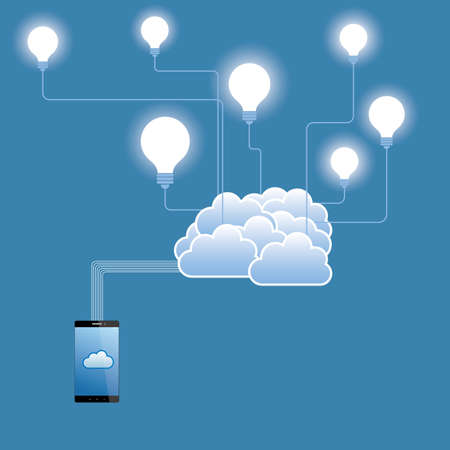 Cloud computing and networking design concept.The background is blue.