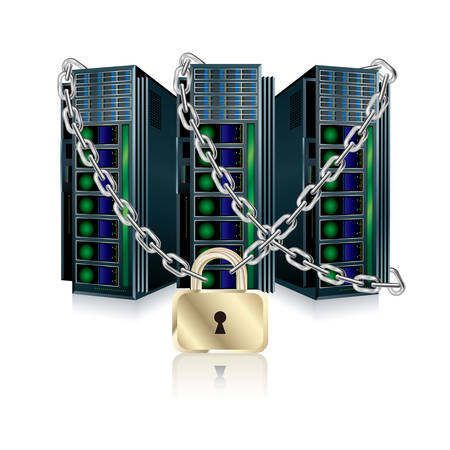 web server, Isolated on white background.Locked by a chain. Ilustração