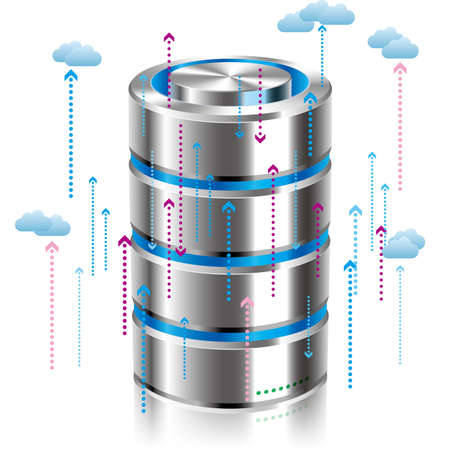 Cloud computing and networking design concept, Data sharing concept design. Ilustrace