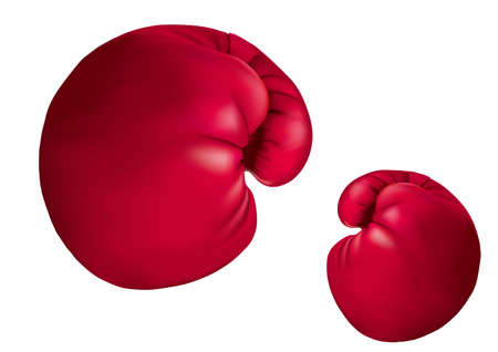 drawn boxing gloves, isolated on white background.