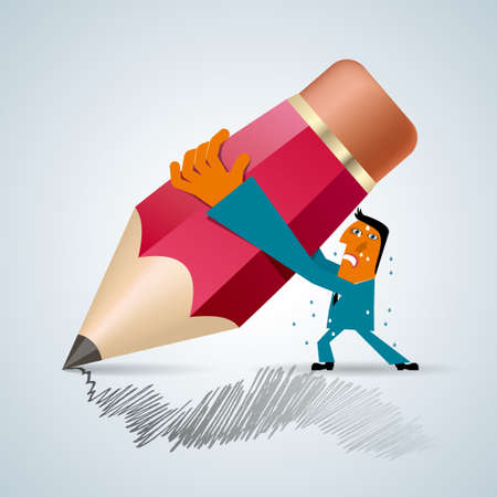 Businessman holding a huge pencil,Is painting. Isolated over gray background. Ilustração