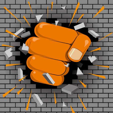 Power concept design, fist breaks brick wall.