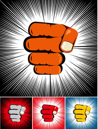 Strength concept design, fist combinations of different colors.