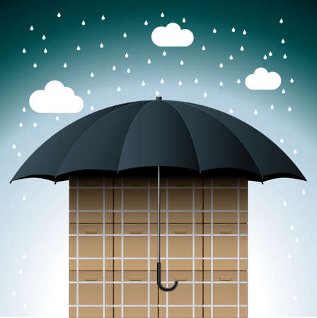 Carton under umbrella, The sky is raining.