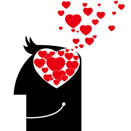 With regard to the ideology of love, the heart symbol is in the brain. Illustration