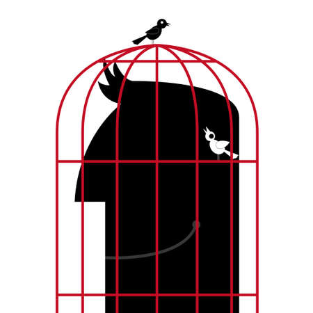 The head is in a birdcage.Two birds are outside the cage. Ilustração