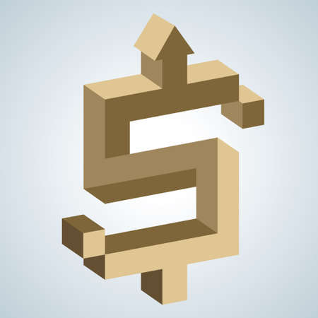Creative design of dollar sign, Creative ideas. Dollar sign is gold,Background is gray.