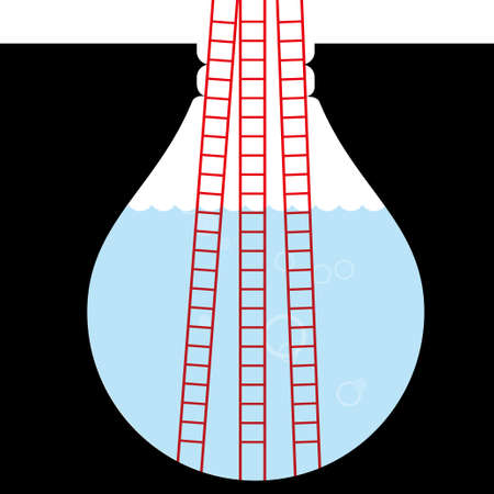 Ladder in deep trap,The trap is in the shape of a light bulb. Vectores