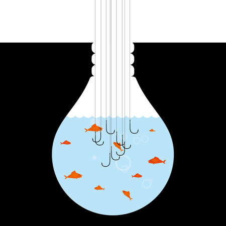 Conceptual design of fishing, a group of fish in a light bulb shaped container. Illustration
