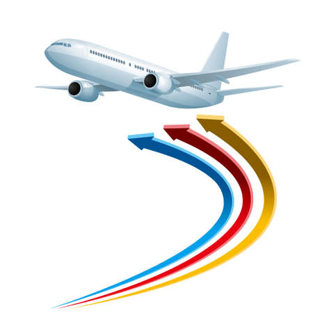 Air flight concept design, drawn jet airplane and arrow symbol.