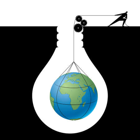 Businessman lifting earth from trap, The trap is in the shape of a light bulb.