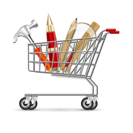 Work tools in the shopping cart, isolated on white background.