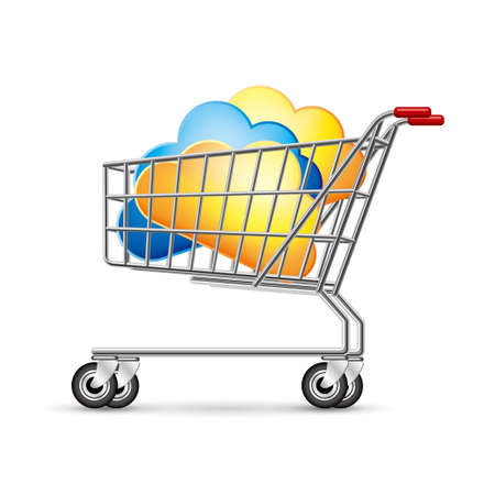 Cloud symbol in the shopping cart, isolated on white background.