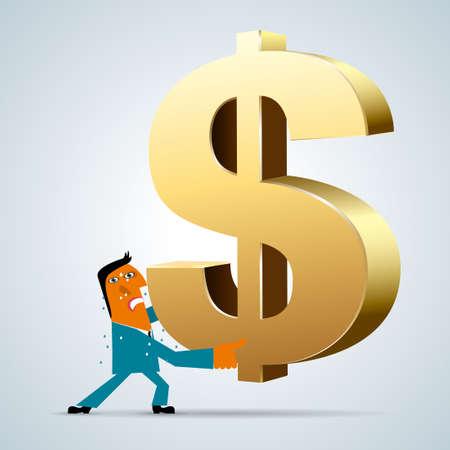 Marketing design, businessman holding up dollar sign. Businessman wear blue suit.