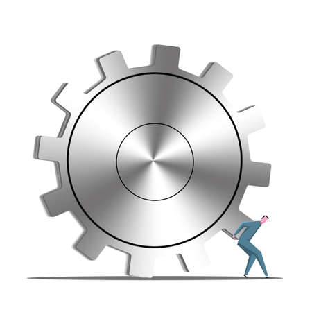 Businessman pushing huge gear, isolated on white background. Vecteurs