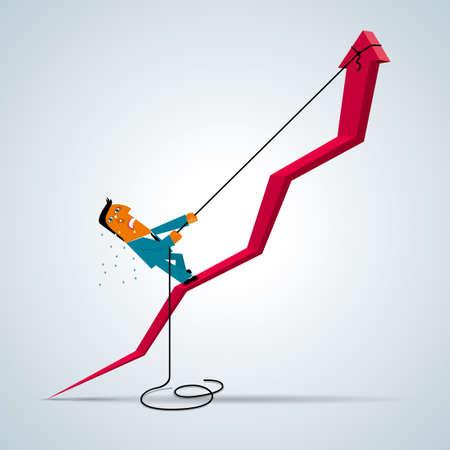 Concetto di design aziendale, arrampicata uomo d'affari. Freccia in aumento.