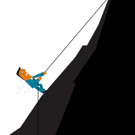 Business design concept, businessman climbing. Black mountain. Illustration