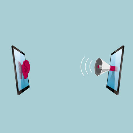 Communication concept design, face to face tablet. The background is blue.