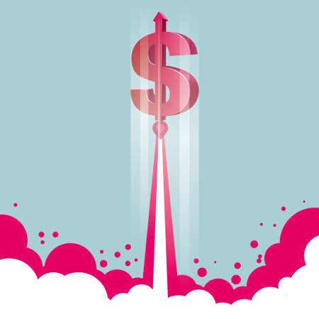 Financial concept design, rocket launch, rocket is the dollar sign. Çizim