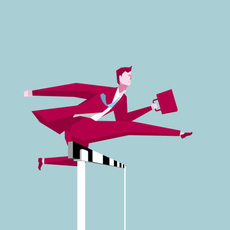 Businessman hurdles running, business concept design