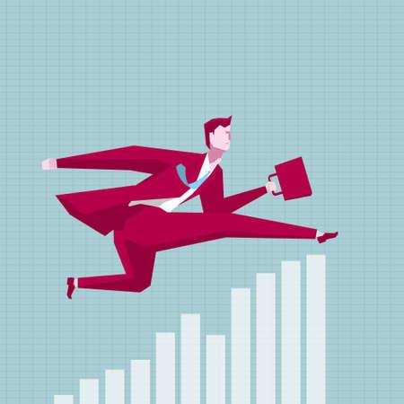 Businessman running, cross the bar chart. Illustration
