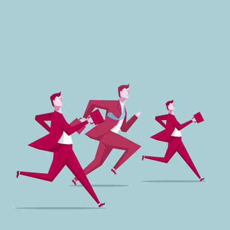 Businessmen  running, teamwork concept. Illustration