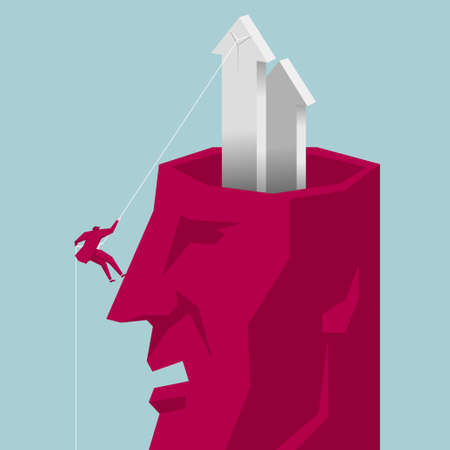 Businessman rock climbing from the head. The background is blue.