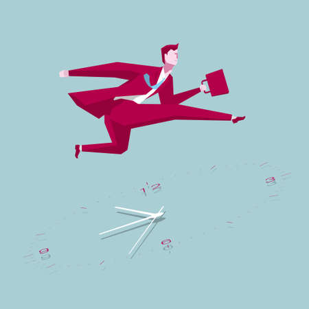 Businessman running,cross the clock. The background is blue.