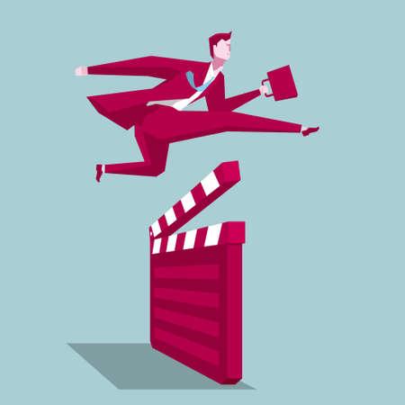 Businessman hurdles running, business concept design, background is blue. Stock Illustratie