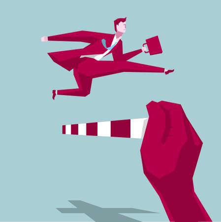 Businessman hurdles running, business concept design, background is blue. Illustration