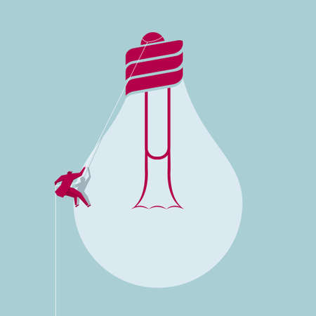 Businessman rock climbing from bulb, the background is blue. Illustration