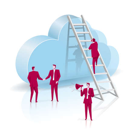 Businessman climbs the cloud symbol from the ladder. Business concept design, the background is blue.