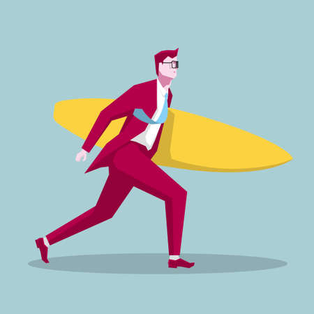 Businessman carrying a surfboard. The background is blue.
