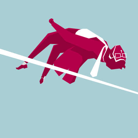 The high jump movement of the businessman, the background is blue.