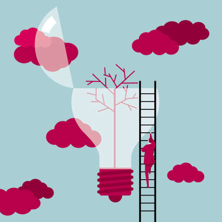 A businessman climbs the light bulb from the ladder. There is a tree in the bulb and the cloud is red.