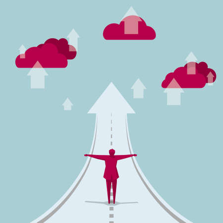 The businessman spread his arms,stood on the road, the end of the road is the arrow symbol. The cloud is red. Vetores