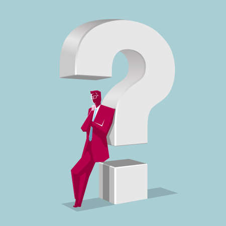 Businessman rely on question mark.The background is blue.