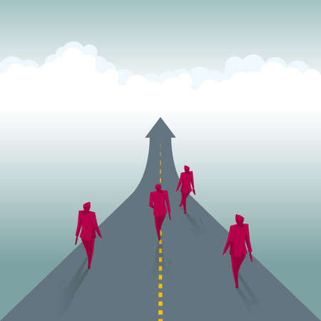 A group of businessmen are walking on the road, the road is in the shape of an arrow. Vetores