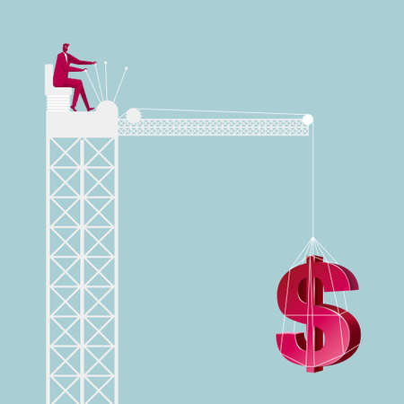 Businessman lifting dollar symbol, isolated on blue background.