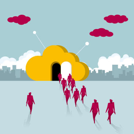A group of businessmen walk into the cloud symbol. The background is the urban landscape.