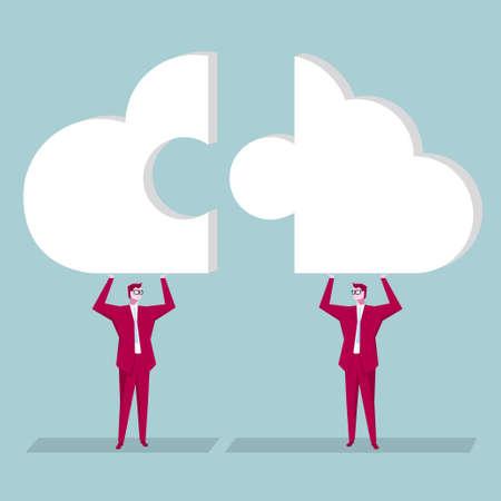 Team concept design, Businessman hold up cloud symbol puzzle. The background is blue.