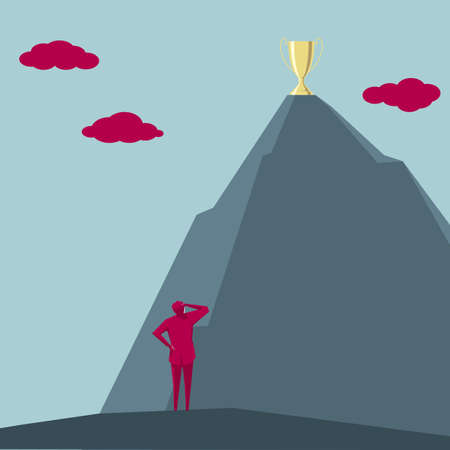 A businessman stands at the foot of the mountain and looking at the trophy on the top of the mountain.The cloud is red.