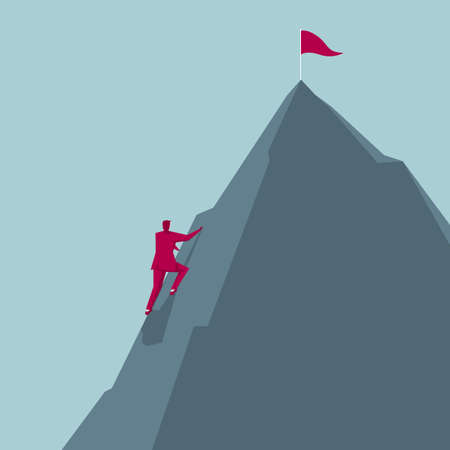 Businessman climbs the mountain. The pennant is inserted at the top of the mountain. Illustration
